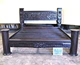 Tribal Carved Pillar Bed by Worldcraft Industries, California King
