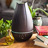 HealthSmart Aromatherapy Essential Oil Diffuser and Cool Mist Humidifier with 500ML Tank Ideal for Large Rooms Features Adjustable Timer, Mist Mode and 7 LED Light Colors, Brown