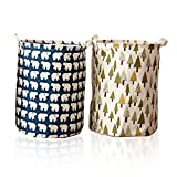 【2-pack】 Large Sized Waterproof Coating Canvas Round Storage Bin with Strong Cotton Rope Handle, Cotton Fabric Folding Clothes Laundry Hamper with Lid Drawer Basket(large)