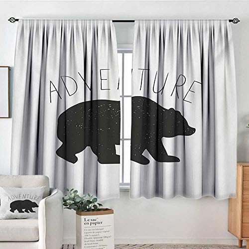 HOMEDECORATIONS Adventure Window Curtain Fabric Black Silhouette of a Wild Bear Zoo Animal Nature Passion Hipster Design Drapes for Living Room 55