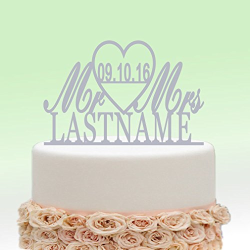 ivisi Mirror Silver Wedding Cake Toppers Personalized Mr And Mrs Last Name Surname