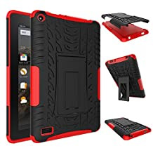 Fire 7 inch Case,YiLin [Red] [Shock Absorbent] Premium Dual Layer Defender Protective Rugged Cover with Kickstand for Amazon Fire 7'' Tablet 2015 Version