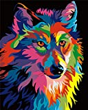 Komking DIY Painting Paint by Numbers Kit for Adults Beginner, Colorful Animals Painting on Canvas 16x20inch - Colorful Wolf