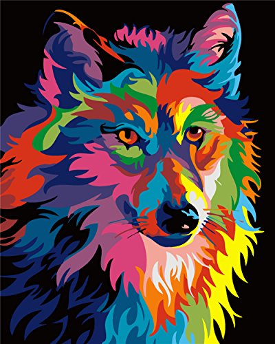 Kids Wolf - Komking DIY Paint by Numbers for Adults, Paint by Number Kits for Kids Beginner on Canvas Painting, Colorful Wolf 16x20inch