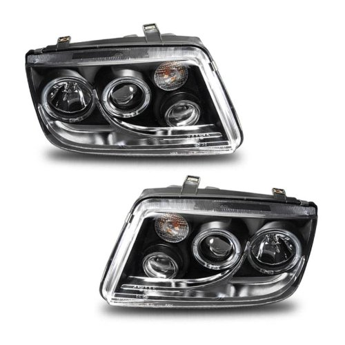Headlights Assembly Set Halo (W/Fog Lights) For Volkswagen Jetta - (Pair) Driver Left and Passenger Right Side Replacement Headlamp ()