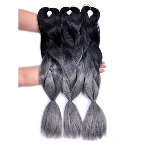 Jumbo Braiding Hair 3pcs (black/dark grey) Ombre Braiding Hair Extension For Crochet Twist