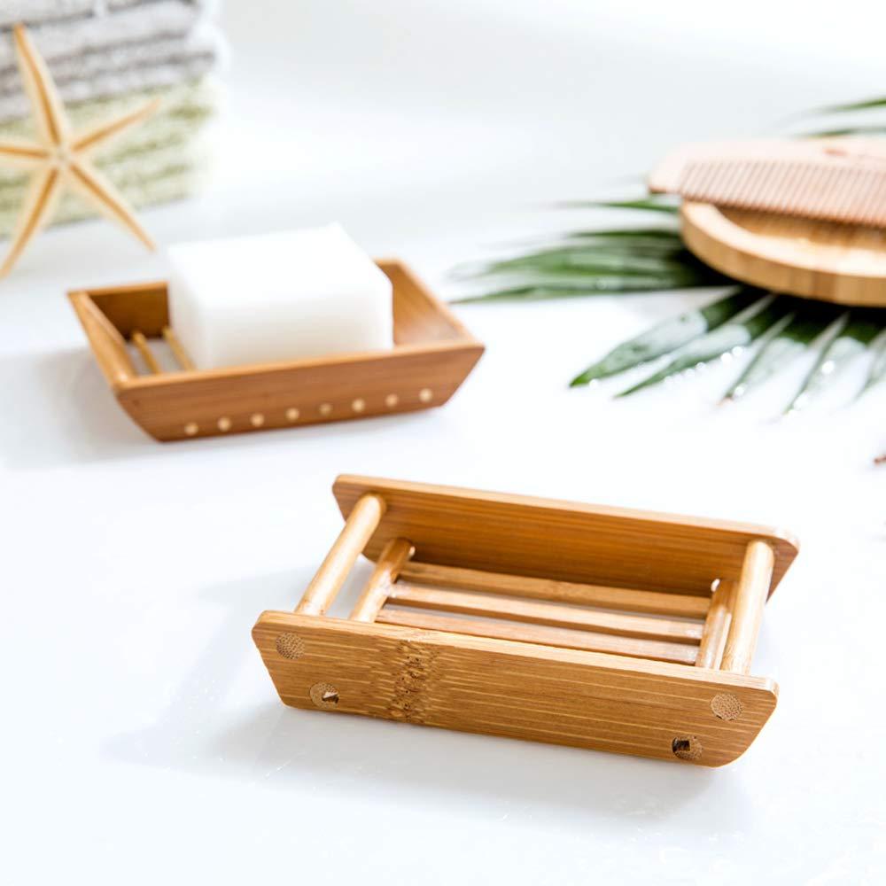 Style 2 three size Kaxich 2/pezzi in legno di bamb/ù scolapiatti doccia portasapone Holder Storage Saver portasapone piatto doccia per bagno Vanit/à lavello