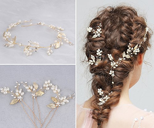 ng Headband & Hair Pin Set, Womens Fashion Crystal Hair Barrettes Kits for Bride/Girls Hair Decoration Accessories Wear Clips Jewelry Headpiece for Bridesmaid ()