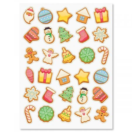 Christmas Cookies Stickers - 2 sheets (60 stickers total)