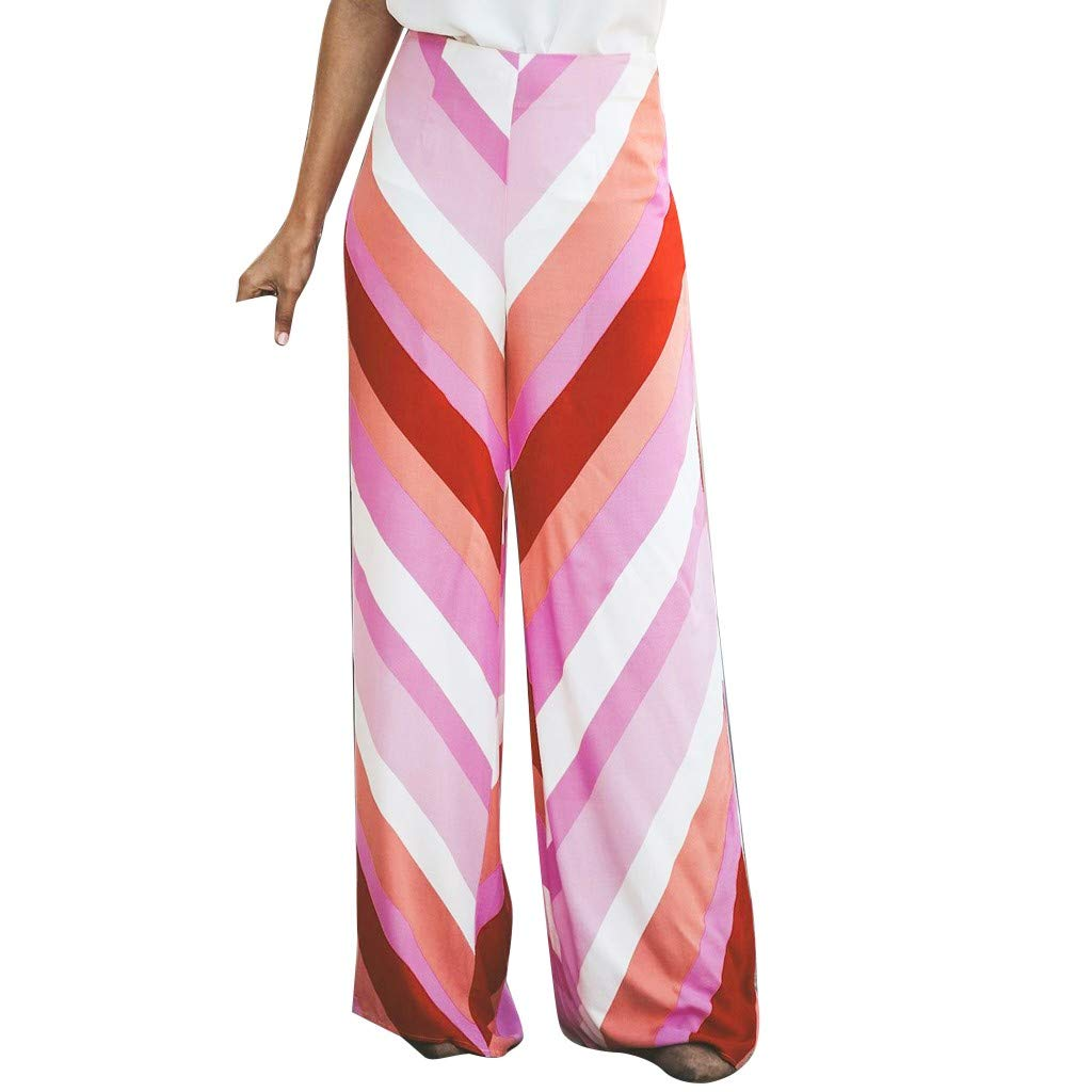 Jchen Women Loose High Waist Straight Leg Pants Colorful Striped Print Casual Pants Ladies Wide Leg Palazzo Lounge Trousers