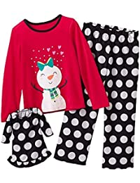 Girl's Size 4 Fleece Snowman Polka Dot Pajama Set With Doll Gown
