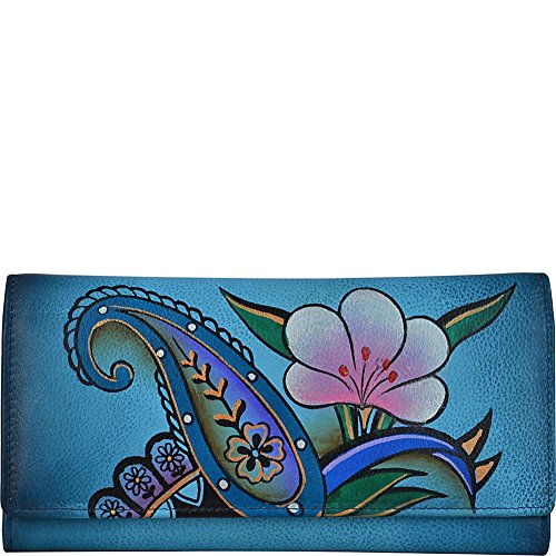 Anna by Anuschka Hand Painted Leather | Triple Compartment Wallet/Clutch | Denim Paisley