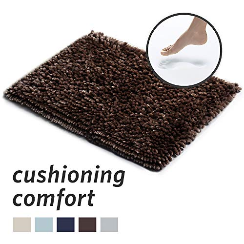 (MICRODRY SoftGloss Shiny Absorbent Shag Chenille Memory Foam Bath Mat with GripTex Skid-Resistant Base, 17x24, Chocolate)