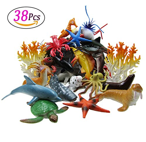 LUCCK Ocean Sea Animal, Assorted Mini Sea Creatures Toys Set, Realistic Underwater Sea Animals Figure Bath Toy, 38 Pieces Set (Sea Creatures Bath)