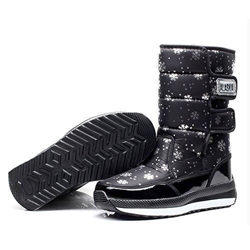 Noir Boots Bottes Fourrure De Antidérapant Imperméables Chaussures Doublé Neige Chaud Bottines Femme Hiver U17wqBU