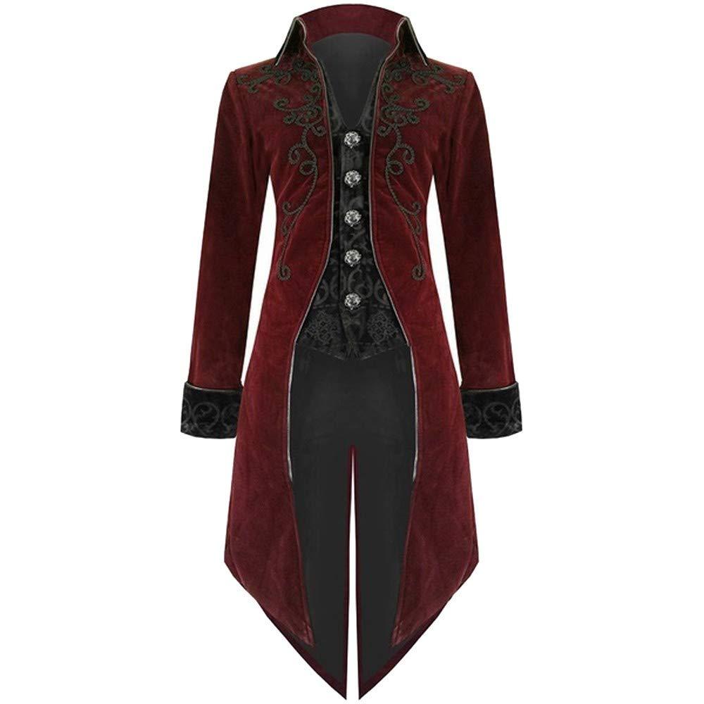 Leoy88 Halloween Men's Uniform Dress Long-Sleeved Coat Solid Color Fashion Steampunk Retro Tuxedo 60cm/23.6
