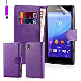 32nd® Book wallet PU leather case cover for Sony Xperia M4 Aqua mobile phone - Purple