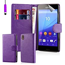 32nd Book Style Faux Leather Wallet Case Cover for Sony Xperia M4 Aqua Cell Phone - Purple