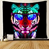 SARA NELL Tiger Tapestry Art Wall Hippie Art Cool Tiger Rainbow Face Tapestries Wall Hanging Throw Tablecloth 50X60 Inches for Bedroom Living Room Dorm Room