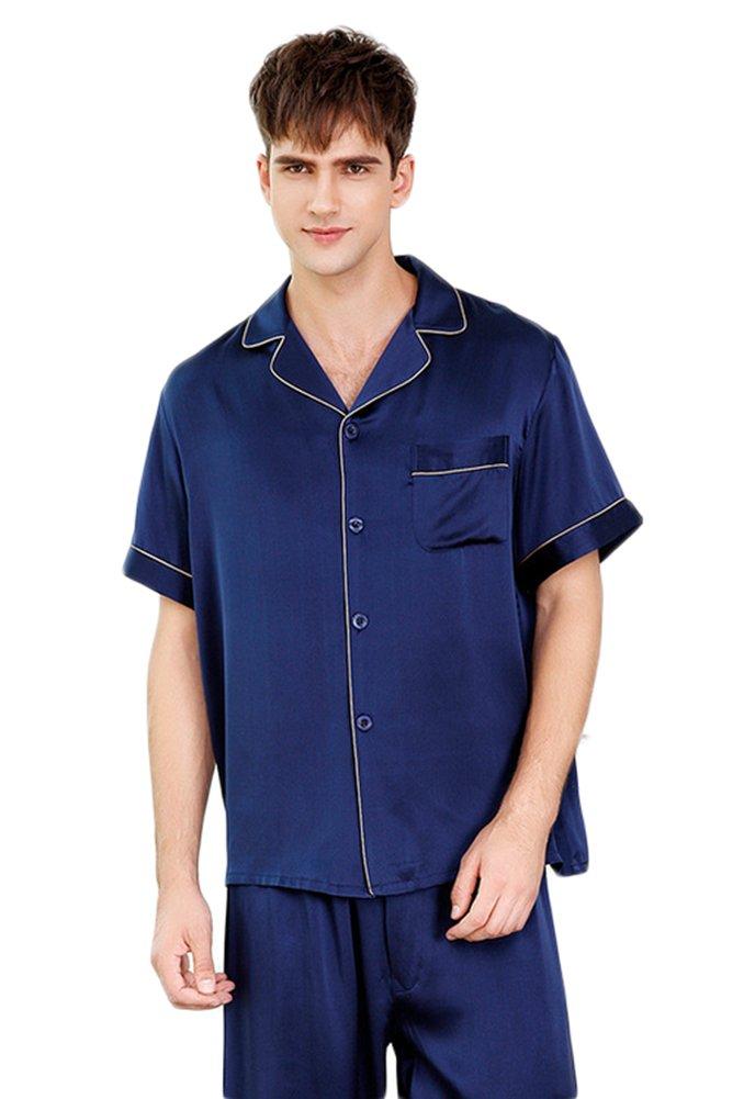 Luxury Silk Pajamas Sets Short Sleeve Beautiful Gifts for Husband Deep Blue M