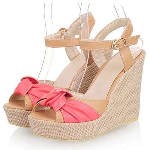 LongFengMa Women's Fashion Bowknot Wedge Heelded Platfrom Sandals Red T17qMYVr