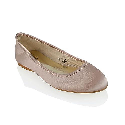e9cf904e275e ESSEX GLAM New Womens Bridal Shoes Satin Flower Girl Ladies Wedding Prom  Pumps Size 3-9  Amazon.co.uk  Shoes   Bags