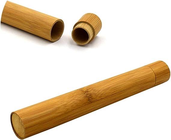 Supvox Spazzolino da denti Porta tubo Portaspazzolino Bamboo Round per campeggio da trekking