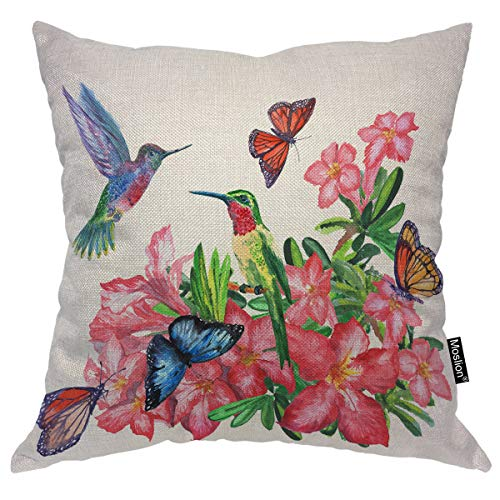 Moslion Throw Pillow Cover Hummingbirds 18x18 Inch Watercolor Painting Butterflies Blossoming Flowers Colorful Square Pillow Case Cushion Cover for Home Car Decorative Cotton Linen ()