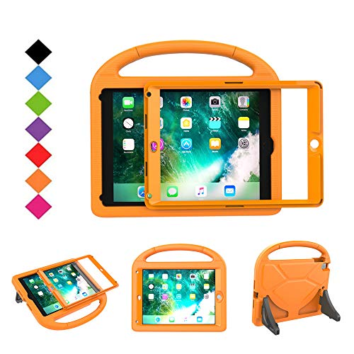 BMOUO Kids Case for New iPad 9.7 2018/2017 - Built-in Screen Protector Shockproof Light Weight Handle Convertible Stand Case Cover for Apple iPad 9.7 Inch 2018 (6th Gen) / 2017 (5th Gen) - Orange