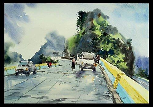 lonavala highway watercolor painting by ghanshyam dongarwar