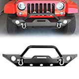 LEDKINGDOMUS 07-18 Jeep Wrangler JK Offroad Front Bumper with Fog Light Hole and Winch Mounting Plate Textured Black