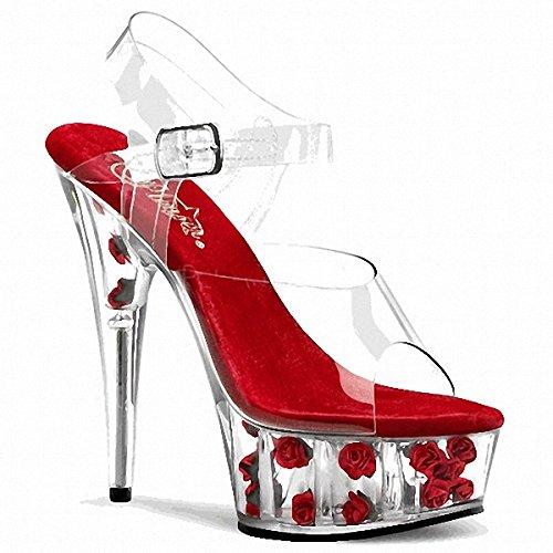 de Rosa de de tacón grueso de gruesa transparente de de de Sandalias Red Zapatos cristal tacón vestir alto Zapatos tacón VIVIOO suela 15cm Sandalias aguja tacón alto de UzXwqOUAx
