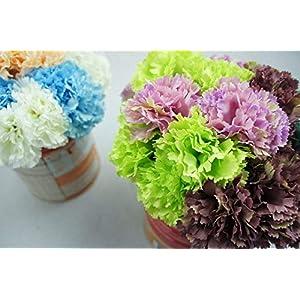 Lily Garden 12 Stems Artificial Carnation Flower Silk Bouquet (Green) 4