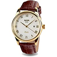 JOYSAE Men's Quartz Wrist Watches, Casual Business Analog Watches Waterproof Wrist Watch with White dial Brown Leather Band for Mens (Gold)