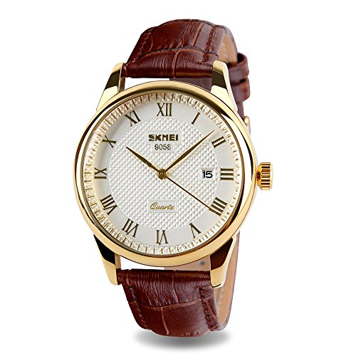 JOYSAE Men's Quartz Wrist Watches, Roman Numeral Business Casual Fashion Analogue Watches Wrist Watch Classic Calendar Date Window, Comfortable Brown Leather Gold Dial Watches Gift Set (Brown Dial Roman)