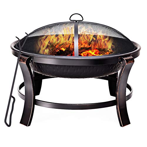 Giantex 30' Outdoor Metal Firepit Backyard Patio Garden Wood Burning Fireplace Round Fire Pit with Spark Screen Log Poker and Mesh Cover Lid, Black & Goden