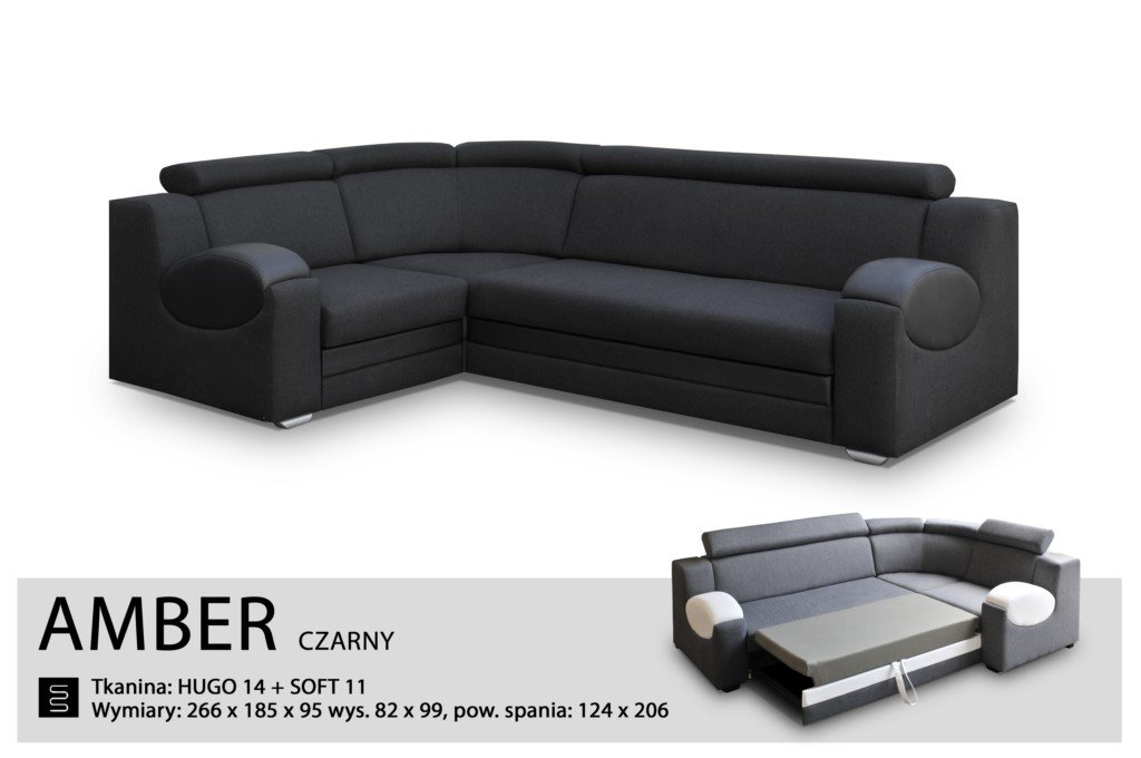 UNIVERSAL HAND CORNER SOFA BED - AMBER BLACK- FABRIC & FAUX LEATHER 266x185CM (266 CM, BLACK) by Megan Sofas