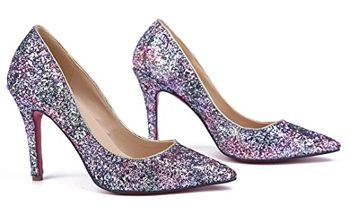 Dress Glitter Stiletto Shoes TDA Multicolored Evening Women's Pointed Toe Sexy Party nZ66Yw7q