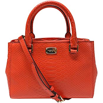 7569dcd50ed9 Michael Kors Kellen Embossed Leather Extra Small Satchel Crossbody Mandarin
