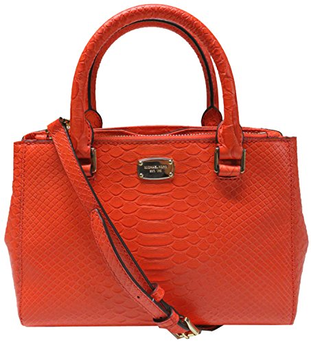 Embossed Large Satchel - Michael Kors Kellen Embossed Leather Extra Small Satchel Crossbody Mandarin
