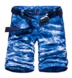 Unisex Teen Boys Hip-hop Stylish Summer Beach Jogger Trouser Casual Camouflage Shorts Military Wild Cargo Pants Cropped Trousers,30,Blue