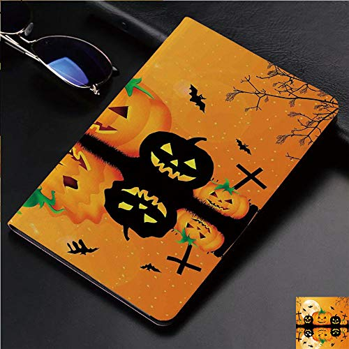 Magnetic Leather Auto Sleep Awake Smart Case Cover for Apple iPad 2 3 4 9.7inch Soft TPU Cute Covers,Carved Halloween Pumpkin Full Moon with Bats