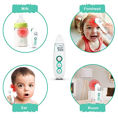 CIZA Forehead & Ear Thermometer, Digital Infrared Medica lDual-mode Thermometer for Fever for Baby Kids Adults and Room Object, Accurate and Fast Instant Reading