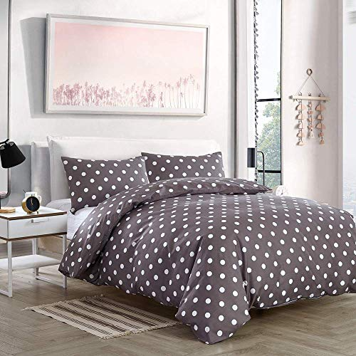 NOKOLULU Reversible White Polka Dot Print on Grey Duvet Cover Set with Zipper Closure - Ultra Soft Brushed Hypoallergenic Bedding for Men & Women (Queen,Grey)