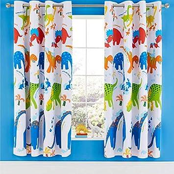 Catherine Lansfield Dino-Saw - Cortinas Opacas con Ojales Brillantes de 156 x 172 cm