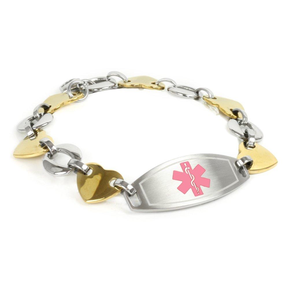 My Identity Doctor Medical Alert Bracelet for Women with Engraving, Gold Tone 316L Steel 1.5cm, Medium - Pink