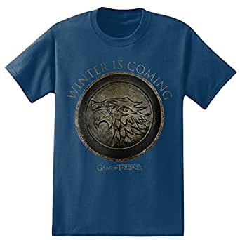 "HBO'S Game of Thrones Men's ""Winter is Coming"" T-Shirt, Dark Denim, Small"