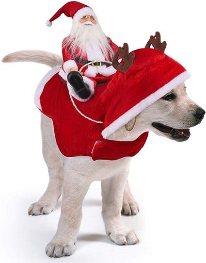 Animali Natale Immagini.Idepet Costume Natalizio Per Cani Con Babbo Natale Che Cavalca Sul Cane Per Cani Di Piccola E Grande Taglia E Gatti Amazon It Prodotti Per Animali Domestici