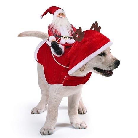 Idepet Trajes para Perros Navidad, Disfraz de Gato Navidad con Papá Noel Montado en Mascota Gato Perro Abrigo Rojo (M)