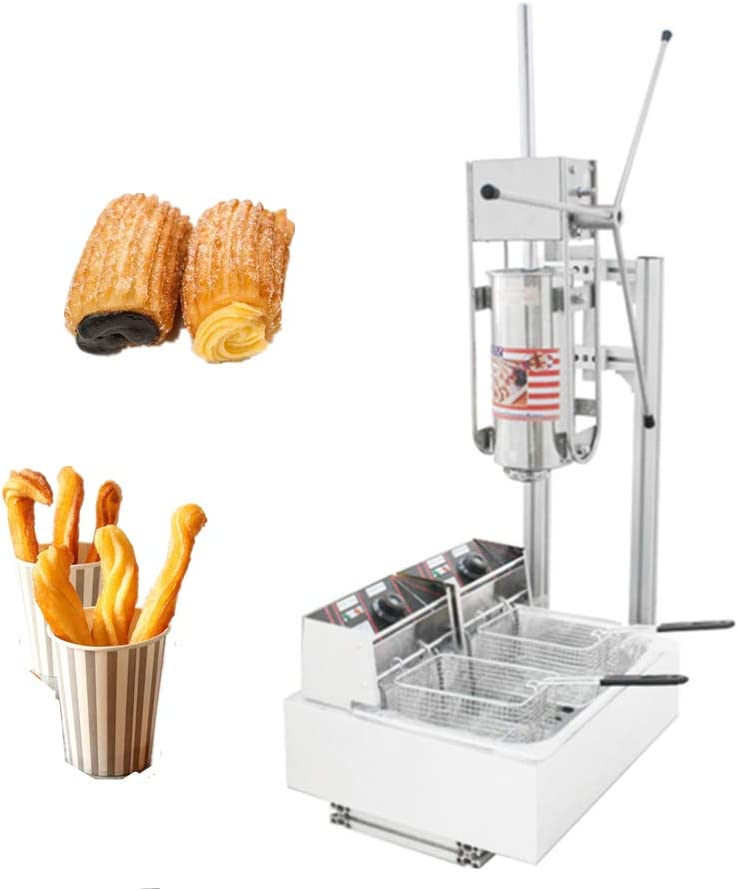 JIAWANSHUN 5L Commercial Churros Maker Spanish Churros Making Machine with 12L Electric Fryer 4 Molds One Mold for 3 holes (220V)